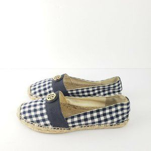 Tory Burch Beacher Espadrille Flats Gingham Blue